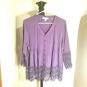 Cold Water Creek Purple Tunic Lace Shirt.